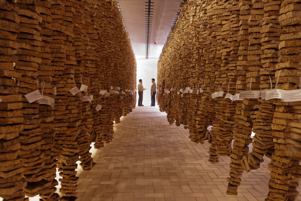 Each of these rows of hanging cork samples represents a reference collection of a particular cork tree farmer.