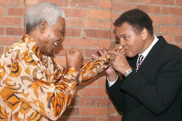 Mandatory Credit: Photo by Startraks Photo/REX (522991bn) Nelson Mandela and Muhammad Ali DINNER IN HONOUR OF NELSON MANDELA, TRIBECA GRILL, NEW YORK, AMERICA - 12 MAY 2005