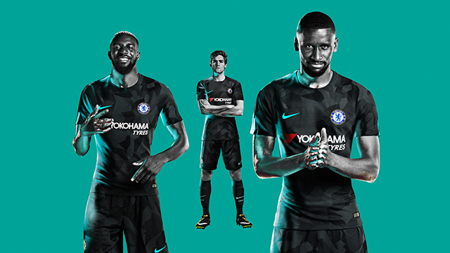 Chelsea third kit all black introducing a camouflage design in anthracite,
