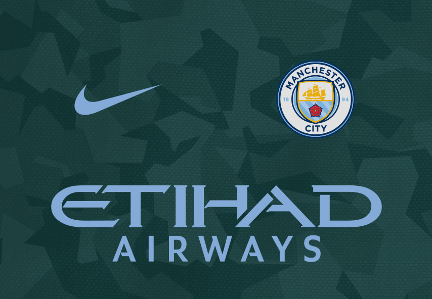 Manchester City third kit, combining dark green with the club's traditional sky blue.