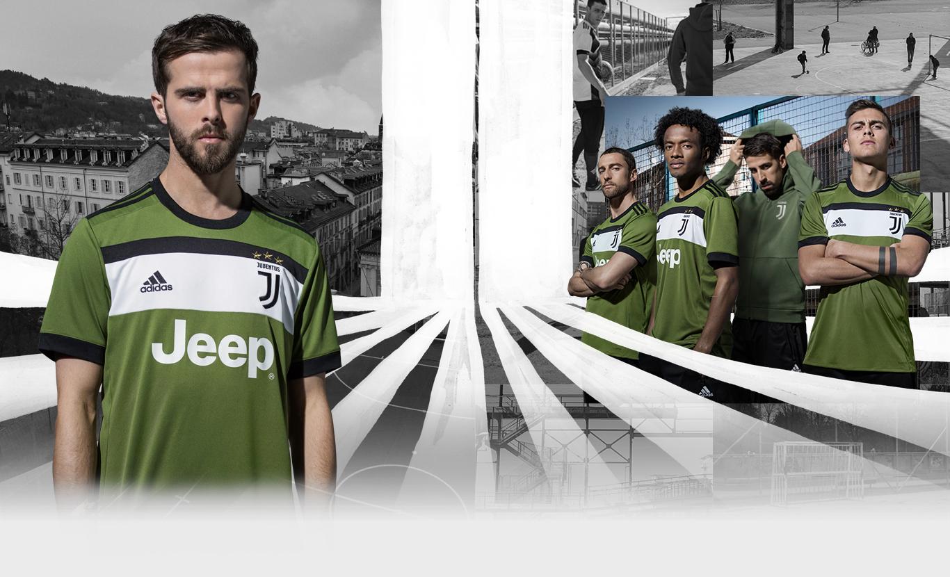 Juventus third kit is 'Craft Green' with black logos
