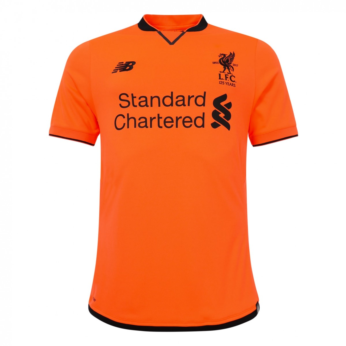 Liverpool FC third kit, orange with dark brown and unique collar.