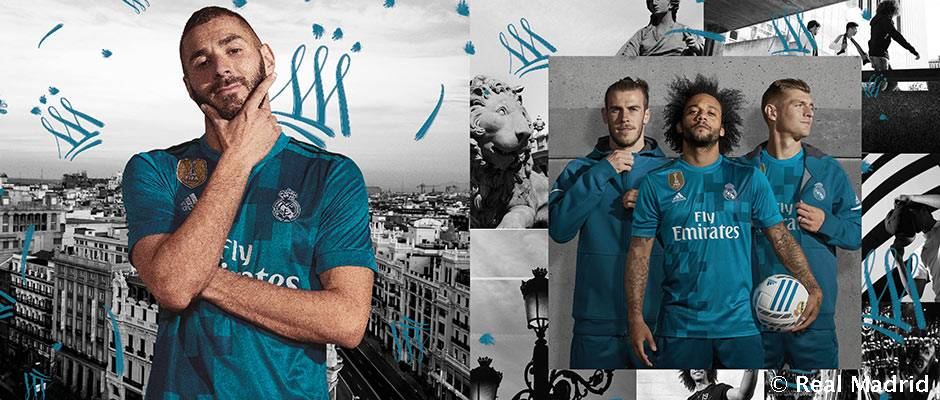 Real third kit has a saturated shade of teal as main color.