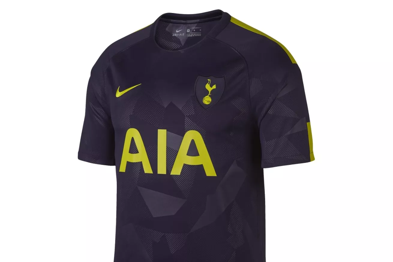 Tottenham third kit geometrical camouflage pattern with accent color 'Volt'